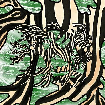 Green Wall Art - Mixed Media - Sea Zebra Dragon 2 by Joan Stratton