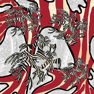 Wall Art - Mixed Media - Sea Zebra Dragon 3 by Joan Stratton
