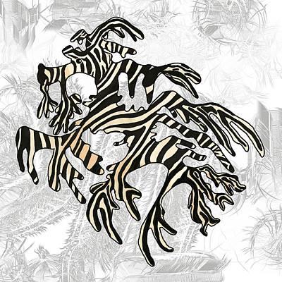 Wall Art - Mixed Media - Sea Zebra Dragon 5 by Joan Stratton