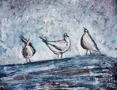 Animals Paintings - Seagulls on a Roof by Patty Donoghue