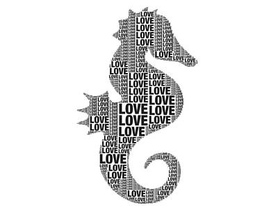 Digital Art - Seahorse Love by Alice Gipson