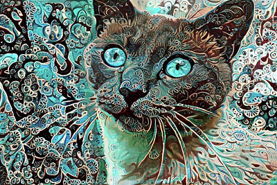 Digital Art - Seal Point Siamese Cat  by Peggy Collins