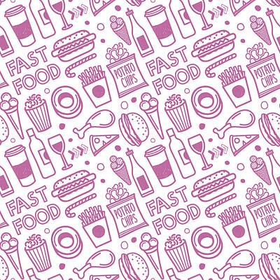 Seamless Fast Food Pattern Art Print by Ilyast