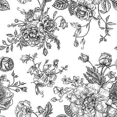 Digital Art - Seamless  Pattern With Bouquet Of by Nata slavetskaya