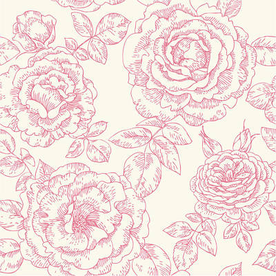 Digital Art - Seamless Pattern With Roses by Aromanta