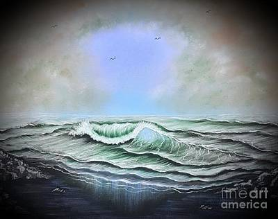 Animals Paintings - Seascape enchantment glow blue by Angela Whitehouse
