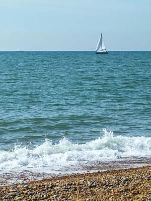 Photograph - Seascape With Boat by Helen Northcott