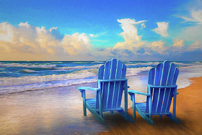Photograph - Seaside Blues Watercolor Painting by Debra and Dave Vanderlaan