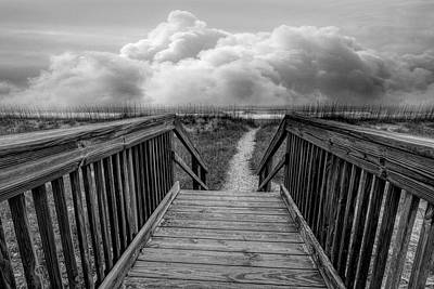 Photograph - Seaside Dunes In Black And White by Debra and Dave Vanderlaan