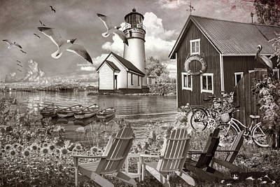 Photograph - Seaside Invitation At The Harbor In Sepia Tones by Debra and Dave Vanderlaan
