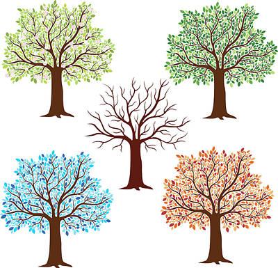 Seasonal Trees Art Print by Flyinggiraffestudio