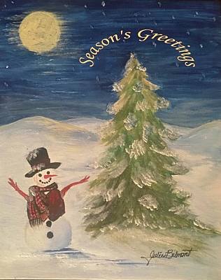Painting - Season's Greeter Snowman by Julie Belmont