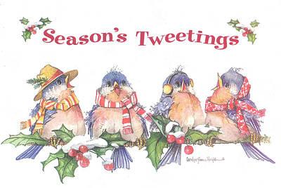 Wall Art - Painting - Season's Tweetings by Carolyn Shores Wright