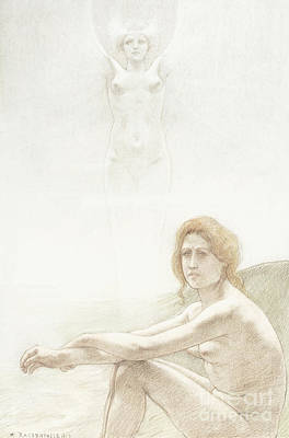 Drawing - Seated Female Nude With Ghostly Female Figure In The Background, 1897 by Armand Rassenfosse