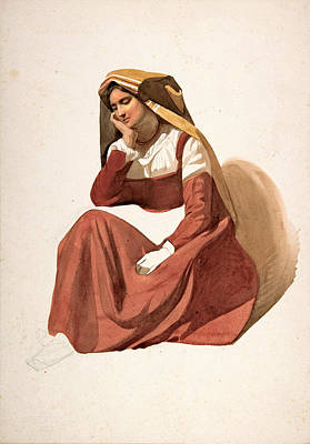 Drawing - Seated Italian Peasant Woman  by Pierre Louis Dubourcq