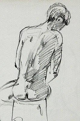 Drawing - Seated Male Model Study Gesture Xx by Irina Sztukowski