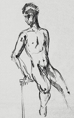 Drawing - Seated Male Model Study Gesture Xxi by Irina Sztukowski