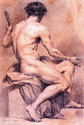 Painting - Seated Male Nude Viewed From The Back  by Anton Raphael Mengs