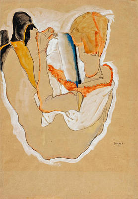 Drawing - Seated Nude, Back View by Egon Schiele