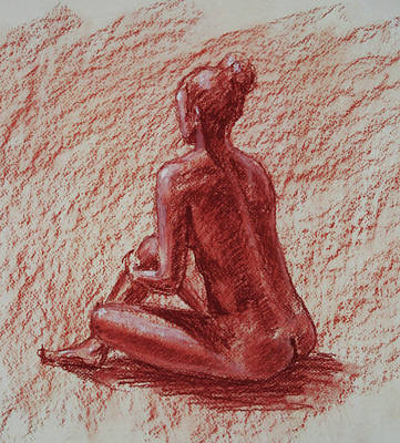 Abstract Drawings - Seated Nude In Sienna Conte Crayon  by Irina Sztukowski