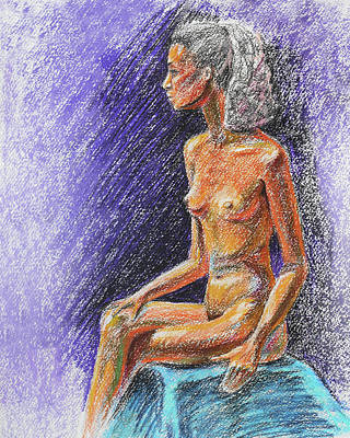 Royalty-Free and Rights-Managed Images - Seated Nude Model Study In Pastel  by Irina Sztukowski