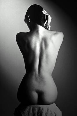 Photograph - Seated Nude Womans Back by Yuri Dojc
