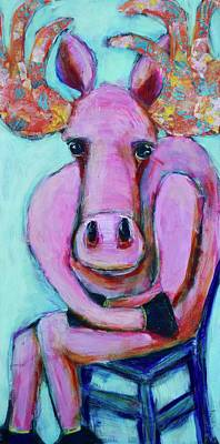 Wall Art - Mixed Media - Seated Pink Moose by Jen Walls