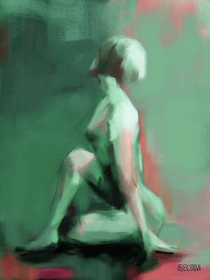 Painting - Seated Woman Emerald Jade Coral by Beverly Brown