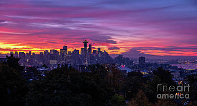 Royalty-Free and Rights-Managed Images - Seattle Fiery Sunrise from Kerry Park by Mike Reid