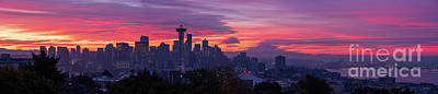 Royalty-Free and Rights-Managed Images - Seattle Fiery Sunrise Panorama from Kerry Park Queen Anne by Mike Reid