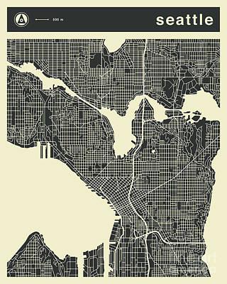 Seattle Wall Art - Digital Art - Seattle Map 3 by Jazzberry Blue