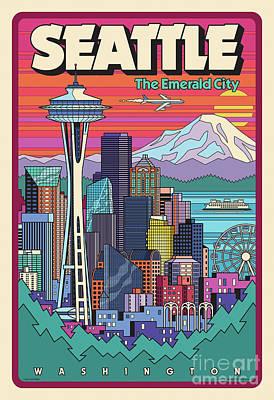Mt Rainier Wall Art - Digital Art - Seattle Poster - Pop Art Skyline by Jim Zahniser