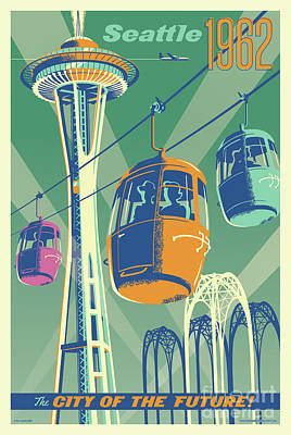 Space Needle Wall Art - Digital Art - Seattle Poster- Space Needle Vintage Style by Jim Zahniser