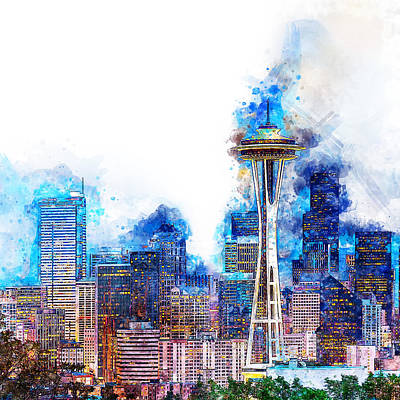 Painting - Seattle Skyline - 01 by Andrea Mazzocchetti