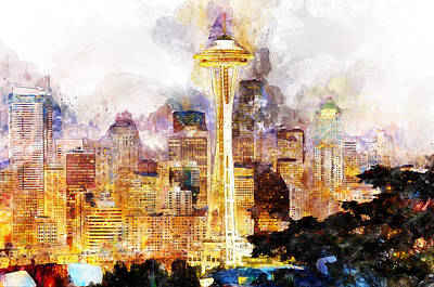 Painting - Seattle Skyline - 02 by Andrea Mazzocchetti