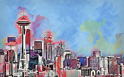 Painting - Seattle Skyline - 03 by Andrea Mazzocchetti