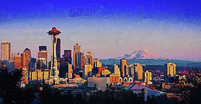 Painting - Seattle Skyline - 05 by Andrea Mazzocchetti