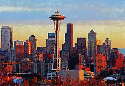 Painting - Seattle Skyline - 06 by Andrea Mazzocchetti