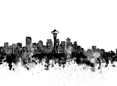 Abstract Skyline Royalty-Free and Rights-Managed Images - Seattle Skyline Bw by Bekim M