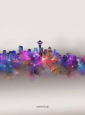 Digital Art - Seattle Skyline Galaxy by Bekim M
