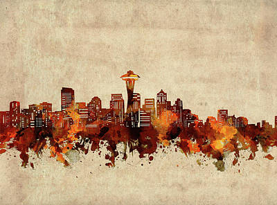 Abstract Skyline Royalty-Free and Rights-Managed Images - Seattle Skyline Sepia by Bekim M