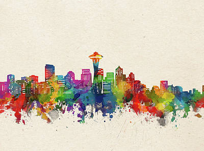 Abstract Skyline Royalty-Free and Rights-Managed Images - Seattle Skyline Watercolor by Bekim M