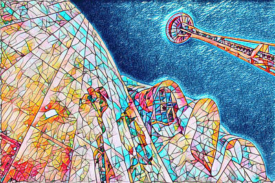 Digital Art - Seattle Up by Scott Campbell