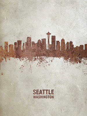 Digital Art - Seattle Washington Rust Skyline by Michael Tompsett