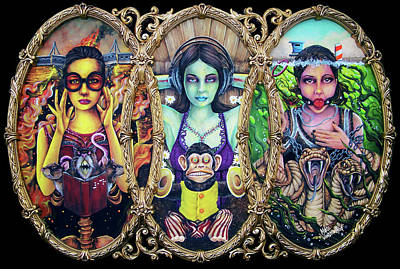 Painting - See No Evil Hear No Evil Speak No Evil By Mike Vanderhoof Kingmikev.com by Michael Vanderhoof
