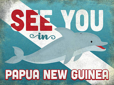 Guinea Wall Art - Digital Art - See You In Papua New Guinea Dolphin by Flo Karp