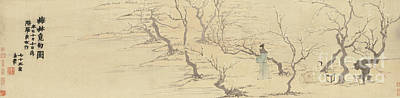 Drawing - Seeking Inspiration Amongst The Plum Blossoms, 1761  by Jin Nong