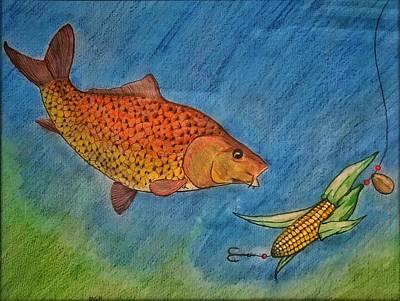 Drawings Royalty Free Images - Seize The Carp Royalty-Free Image by Michael Panno