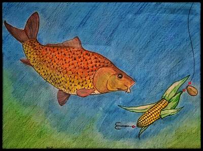 Animals Drawings - Seize The Carp W/ Border by Michael Panno
