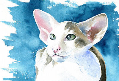 Painting - Selene Peterbald Cat Painting by Dora Hathazi Mendes